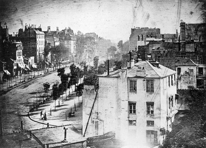 Daguerre 1838 photo of Blvd Du Temple. Public domain. Source: The Photography Book, Phaidon Press. via Wikipedia.