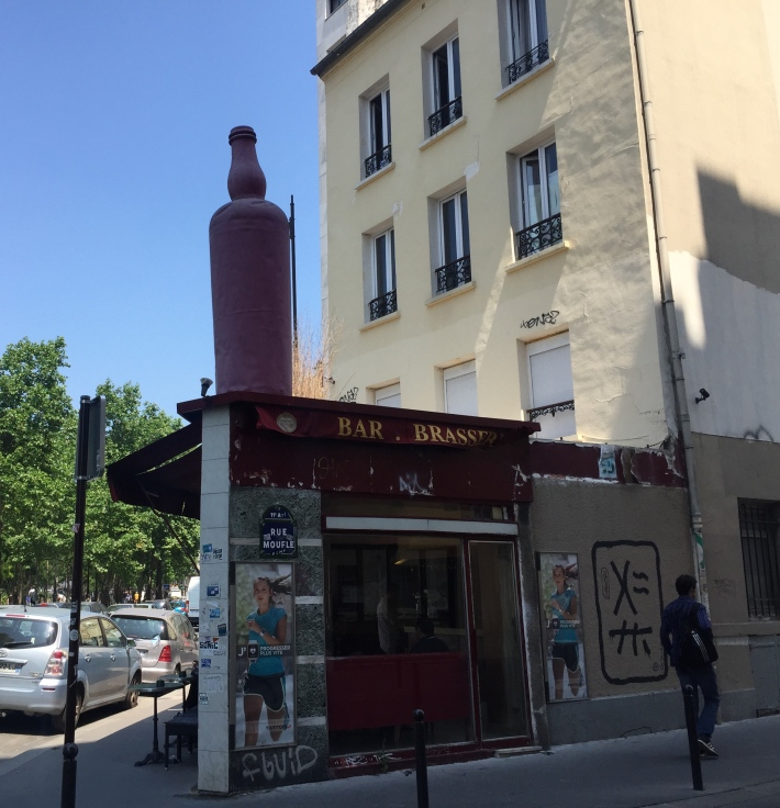 Big wine bottle on Paris street